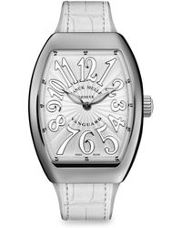 Franck Muller - Lady Vanguard Stainless Steel & Croc-embossed Leather Strap Watch - Lyst