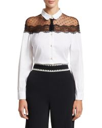 RED Valentino - Lace Shoulder Poplin Blouse - Lyst
