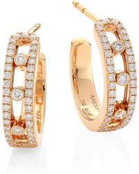 Messika - Diamond & 18k Rose Gold Hoops - Lyst