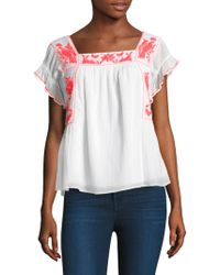 Joie - Cleavon Embroidered Gauze Blouse - Lyst