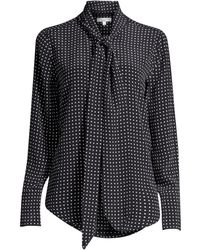 2b0df0d02981c Equipment - Women s Luis Nostalgia Polka Dot Silk Blouse - True Black  Bright White - Size