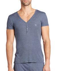 Emporio Armani - Viscose Striped Henley T-shirt - Lyst
