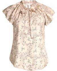 cb86e833675526 Rebecca Taylor Sprinkle Polka Dot Silk Tie Neck Top Parfait, Size 2 ...