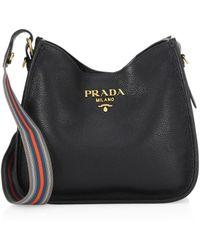 Lyst - Prada Vitello Daino Hobo Bag in Black 9995d97ebb