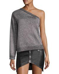 RTA - One Sleeve Metallic Sweater - Lyst