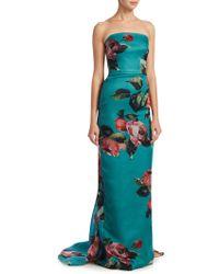 Monique Lhuillier - Rose Print Strapless Column Gown - Lyst