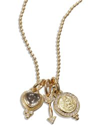 Temple St. Clair - Rock Crystal, Diamond & 18k Yellow Gold Amore Triple Charm Necklace - Lyst