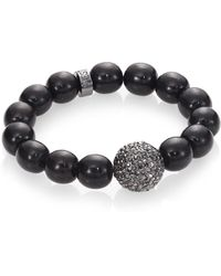 Nest   Black Line Agate Beaded Bracelet With Pave Bead   Lyst
