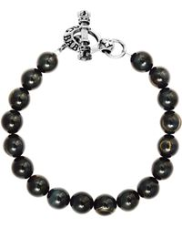 King Baby Studio - Blue Tiger's Eye Sterling Silver Beaded Toggle Bracelet - Lyst