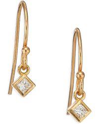 Zoe Chicco - Diamond & 14k Yellow Gold Princess Drop Earrings - Lyst