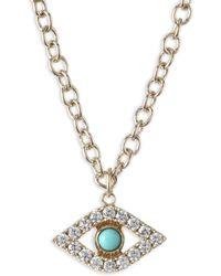 Sydney Evan - Xl Evil Eye Diamond & Turquoise Pendant Necklace - Lyst