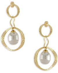 Majorica - Artisian Hammered Gold & Pearl Drop Earrings - Lyst
