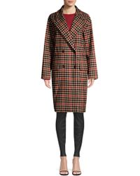 BOSS - Check Wool-blend Double-breasted Coat - Lyst