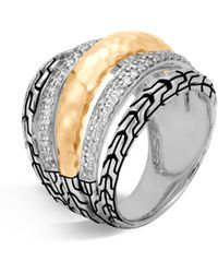 John Hardy - Classic Chain Diamond, Hammered 18k Gold & Silver Ring - Lyst