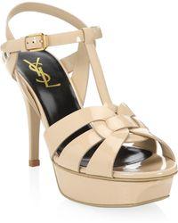 Saint Laurent - Tribute Patent Leather Platform Sandals - Lyst