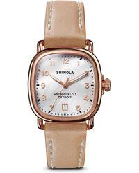 Shinola - The Guardian Leather Strap Watch - Lyst