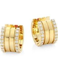 Roberto Coin - Portofino Diamond & 18k Yellow Gold Hoop Earrings - Lyst