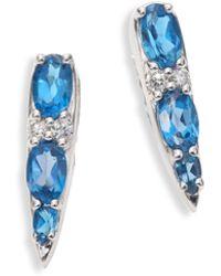 Nikos Koulis - Spectrum Tapered Diamond, London Blue Topaz & 18k White Gold Stud Earrings - Lyst