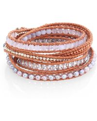 Chan Luu - Grey Banded Agate, Hematine, Crystal & Leather Beaded Wrap Bracelet - Lyst