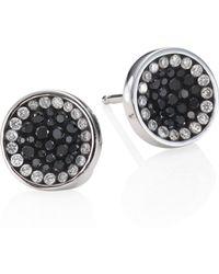 Plevé - Perfect Round Black Diamond Button Stud Earrings - Lyst