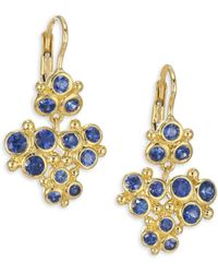 Temple St. Clair - Cluster Trio Blue Sapphire Earrings - Lyst