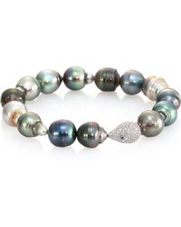 Jordan Alexander - 10mm Baroque Tahitian Pearl & Diamond Beaded Stretch Bracelet - Lyst