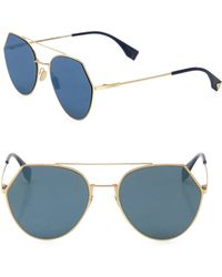 Fendi - 55mm Notched Aviator Sunglasses - Lyst