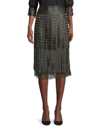 Alice + Olivia - 'senna' Stud Leather Fringe Overlay Chantilly Lace Skirt - Lyst