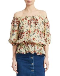 Maje - Lucky Floral Silk Blouse - Lyst