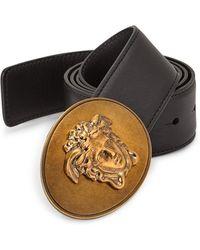 Versace - Medusa Greca Leather Belt - Lyst
