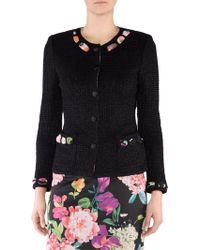 Stizzoli - Jacket With Floral Trim - Lyst
