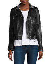 Nour Hammour - Temple Stud-collar Leather Jacket - Lyst