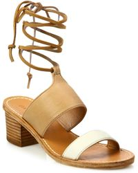 Soludos | Colorblock Leather Ankle-wrap Sandals | Lyst
