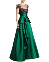 Notte by Marchesa - Cap-sleeve Floral Illusion Gown - Lyst