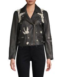 COACH - Lace Applique Leather Moto Jacket - Lyst
