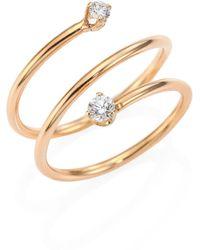 Zoe Chicco - Diamond & 14k Yellow Gold Spiral Ring - Lyst