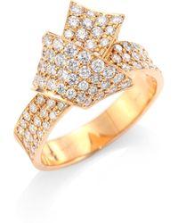 Carelle - Jumbo Knot Diamond & 18k Rose Gold Ring - Lyst
