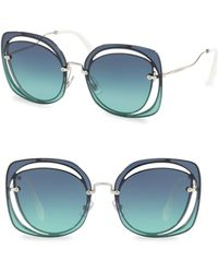 Miu Miu - 64mm Mirrored Round Sunglasses - Lyst