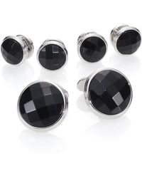 David Donahue - Faceted Black Onyx & Sterling Silver Stud Set - Lyst