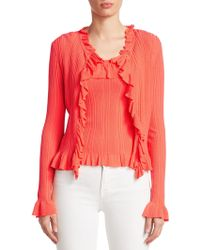 Saks Fifth Avenue - Collection Ruffle-trim Ribbed Cardigan - Lyst