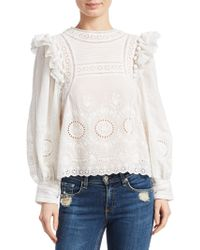 Sea - Embroidered Ruffle Blouse - Lyst