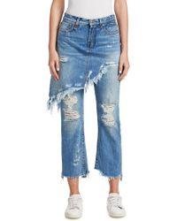 R13 - Distressed Double Classic Denim Skirt & Pants - Lyst