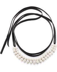 Fallon - Monarch Faux Pearl & Leather Wrap Choker - Lyst