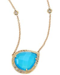 Jacquie Aiche | Partial Pavé Diamond, Blue Opal & 14k Yellow Gold Teardrop Necklace | Lyst