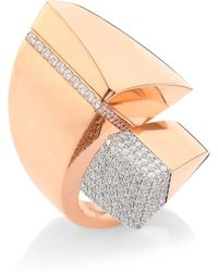 Roberto Coin | Prive Pave Diamond & 18k Rose Gold Bypass Ring | Lyst