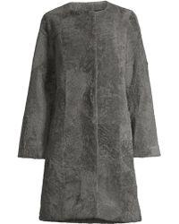 Pologeorgis Patchwork Shearling Coat - Gray