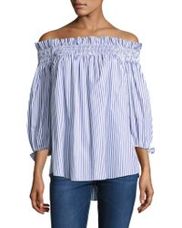 Caroline Constas - Lou Off-the-shoulder Smocked Top - Lyst