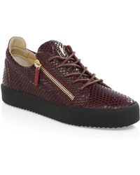 Giuseppe Zanotti - Snake-print Leather Low-top Sneakers - Lyst