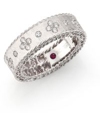 Roberto Coin | Princess Diamond & 18k White Gold Band Ring | Lyst