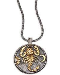Konstantino - Zodiac Diamond, 18k Yellow Gold & Sterling Silver Scorpio Pendant - Lyst
